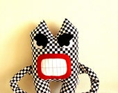 Angry Monster Black and White Plaid