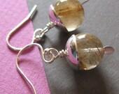 Golden Rutilated Quartz and Silver Bead Cap Earrings
