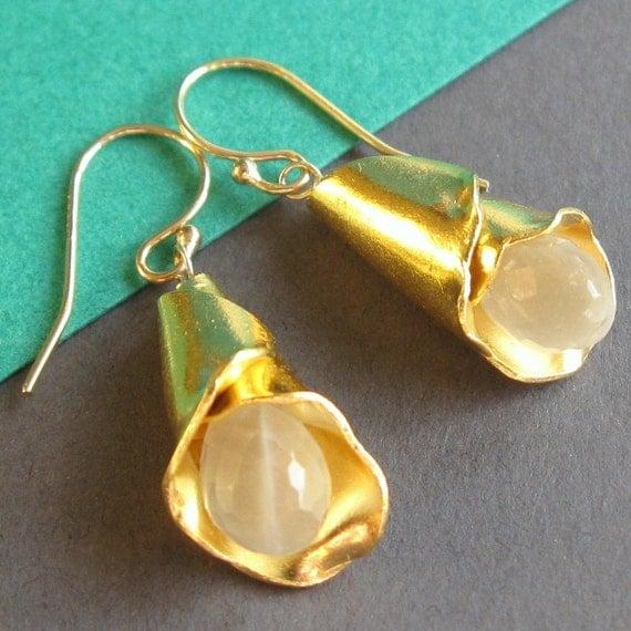 Gold Flower and White Moonstone Earrings