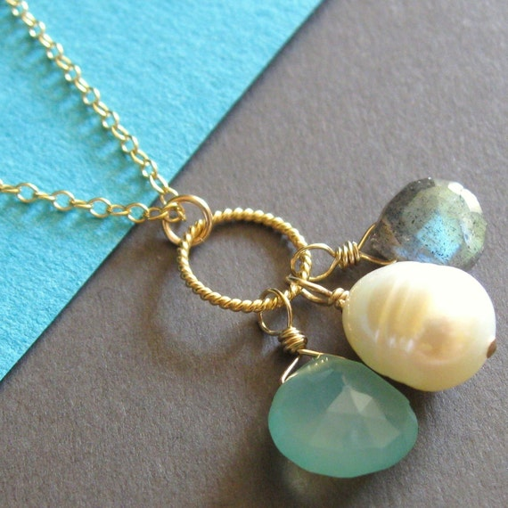 Aqua Chalcedony, Pearl, and Labradorite Twisted Ring Necklace
