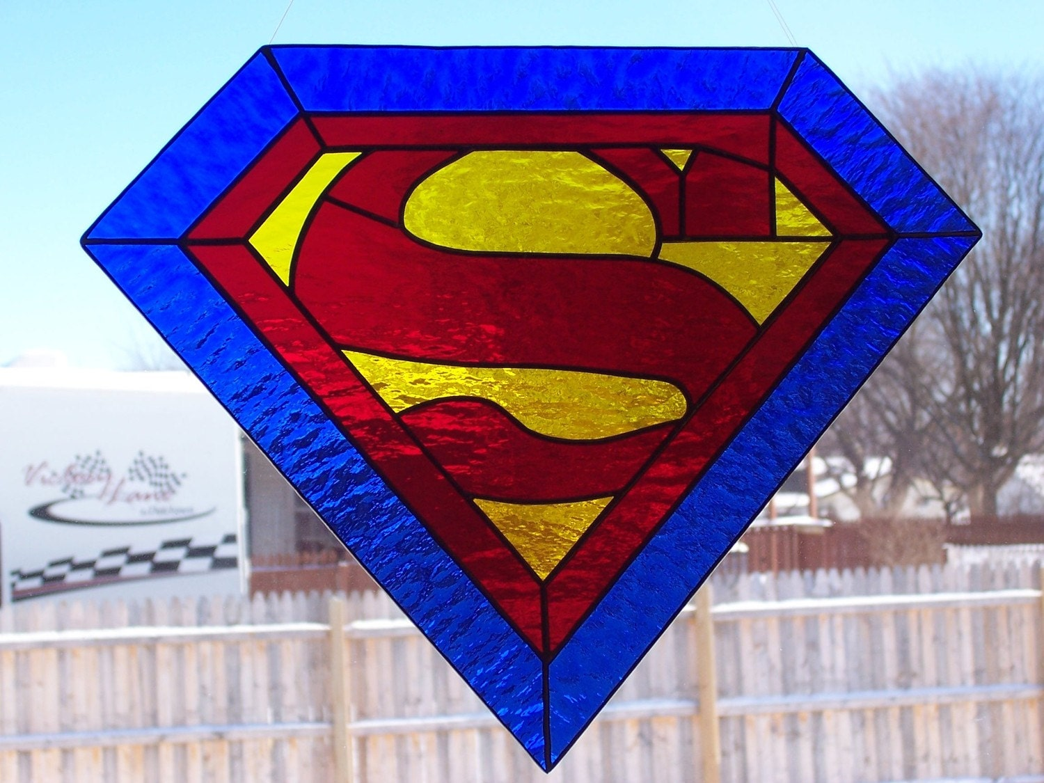 Superman Stained Glass By Wistfulfancy On Etsy