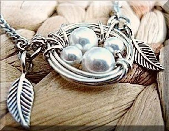 Reserved Listing for mnmgriffitts - Argentium Sterling Silver Wire Wrapped Birds Nest with 5 Swarovski Pearl Eggs, Sterling Silver Leaves