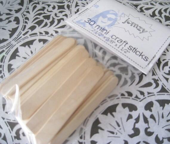 30  Natural Wooden Mini Popsicle Craft Sticks
