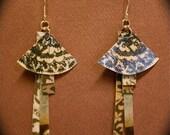Fan-Dangle - Recycled Paper Earrings