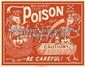 Red Poison Label Skeleton Beware Poster Madame Talbot's Victorian Lowbrow