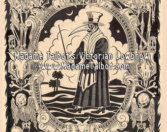 Black Death Plague Doctor Medieval Skeleton Poster Madame Talbot's Victorian Lowbrow