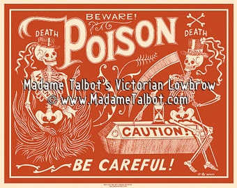 Red Poison Label Skeleton Beware Poster Madame Talbot's Victorian Lowbrow