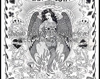 Madame Talbot's Man's Ruin Poster Hot Rod Tattoo Pin Up Lowbrow