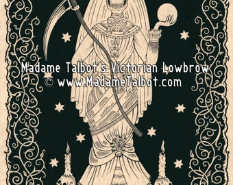 Santa Muerte Saint Death Skeleton Victorian Lowbrow Poster