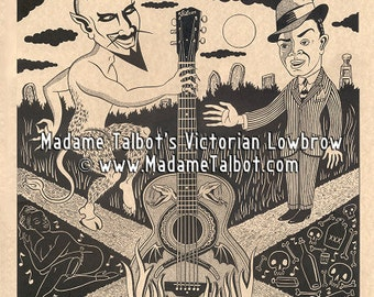 Devil at the Crossroads Delta Blues Poster Madame Talbot's Victorian Lowbrow Robert Johnson