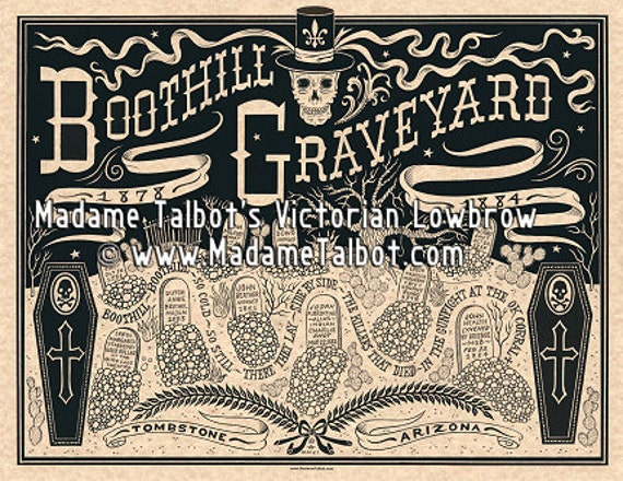 Tombstone Boothill Graveyard Old Wild West Burial Funeral Victorian Lowbrow Poster