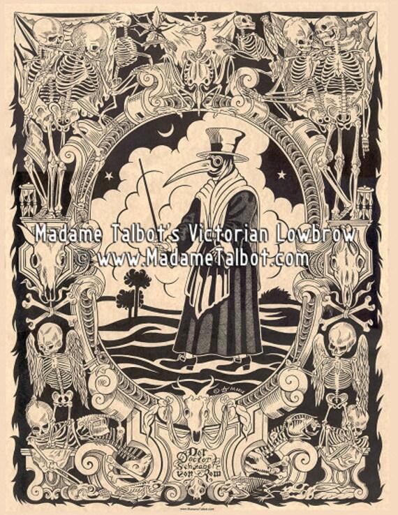Black Death Plague Doctor Medieval Skeleton Poster Madame Talbot's Victorian Lowbrow