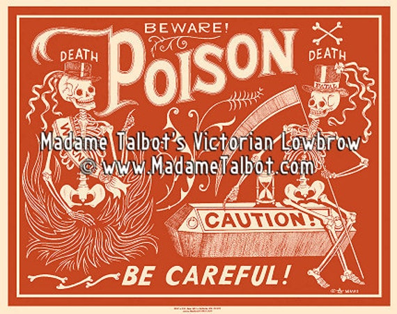 Red Poison Label Poster Madame Talbot's Victorian Lowbrow