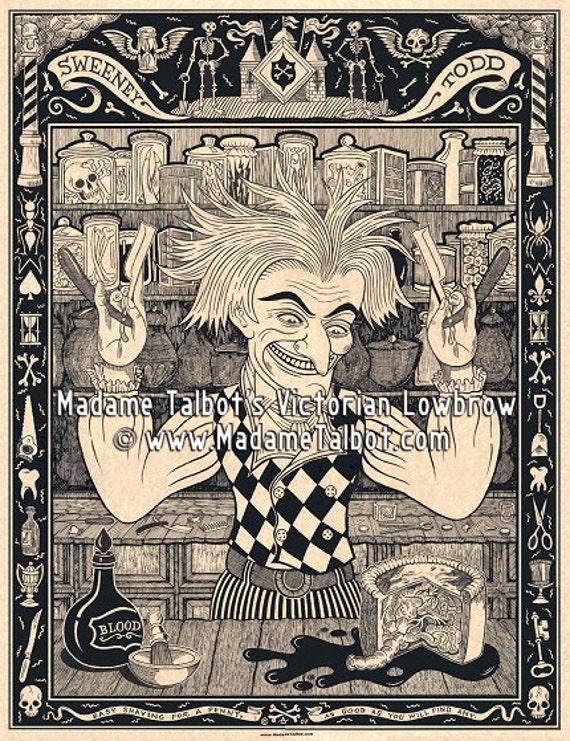 Sweeney Todd Demon Barber of Fleet Street Victorian Lowbrow Poster