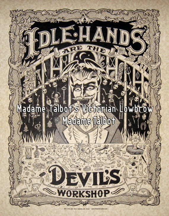 Idle Hands and the Devil's Workshop Playthings Parchment Print Poster Victorian Lowbrow