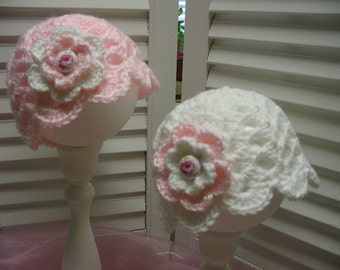 Boutique Style Crocheted Twin Pink White Baby Girl Hats Rose Photo Prop Shower Gift