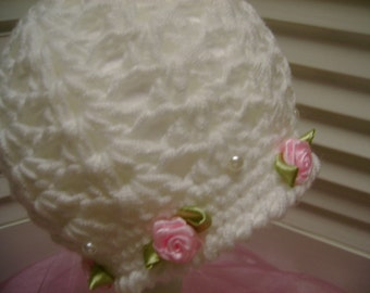 Crocheted Baby Girl Boutique Style Hat Beanie Spring Christening Photo Prop Gift Pink Roses Pearls