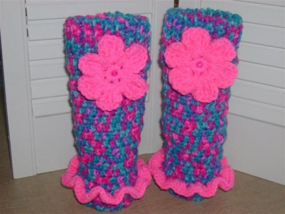 Crocheted Little Girl Leg Warmers Ruffle by ...