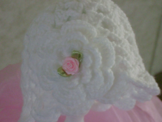 Crocheted Baby Girl Photo Prop Boutique Hat Ribbon Rose Christening