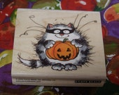 Catman wood mounted Rubber Stamp from Penny Black