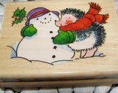 You Make me Blush Hedgehog and Snowman wood mounted Penny Black Rubber Stamp