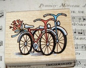 Together - Bicycles Penny Black wood mounted Rubber Stamp