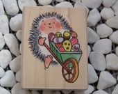 Barrowful Hedgehog wood mounted Rubber Stamp from Penny Black