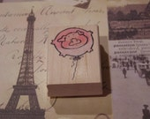 Pink Balloon wood mounted Rubber Stamp from Penny Black