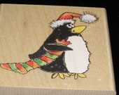 Xmas Wait Penguin wood mounted Rubber Stamp from Penny Black