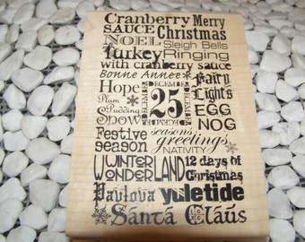 Elements of Christmas Collage wood mounted Rubber Stamp