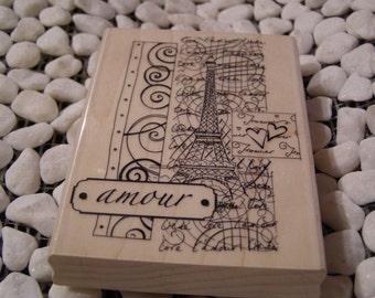 La Tour Eiffel Paris - Amour City of Love wood mounted Rubber Stamp