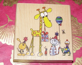 Party Animals wood mounted Rubber Stamp from Penny Black