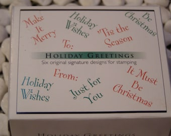 Holiday Greetings - Hero Arts set of 6 wood mounted Rubber Stamps