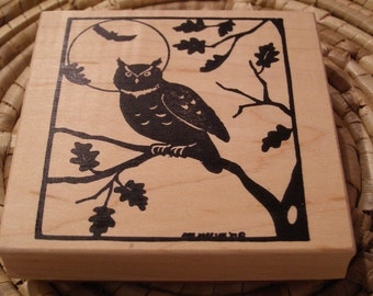 Owl in Moonlight wood mounted Rubber Stamp