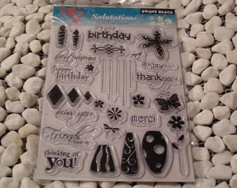 Penny Black Salutations set of Clear Unmounted Stamps - 25 pieces