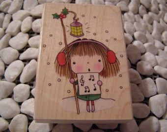 Christmas Note Penny Black wood mounted Rubber Stamp