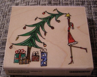Christmas Topping Penny Black wood mounted Rubber Stamp