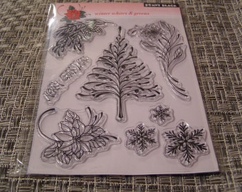 Winter Whites and Greens Penny Black set of Clear Unmounted Stamps - 8 pieces