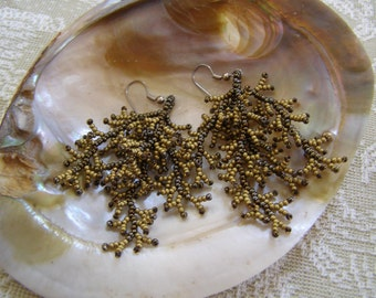 Golden Bark Hand Beaded Coral Design Earrings OOAK