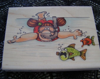 Nautical Adventure Whipper Snapper wood mounted Rubber Stamp