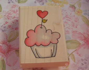 Sweetheart Cupcake Whipper Snapper wood mounted Rubber Stamp