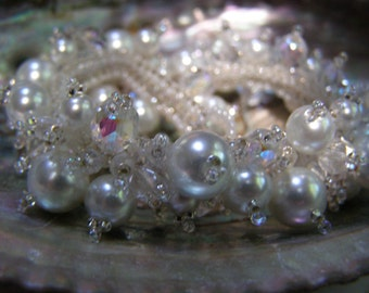 Here Comes the Bride Hand Beaded OOAK Bracelet