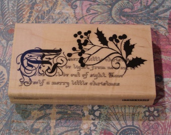 A Merry Little Christmas Penny Black wood mounted Rubber Stamp