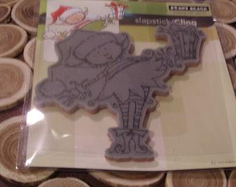 Little Elf Present Slapstick Penny Black Cling foam-mounted Stamp