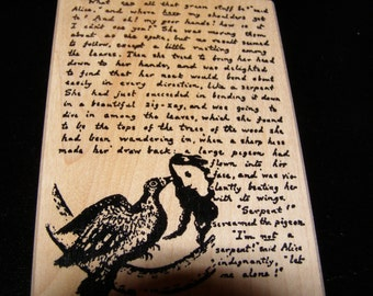 Alice in Wonderland - Alice's Words  - Text wood mounted Rubber Stamp