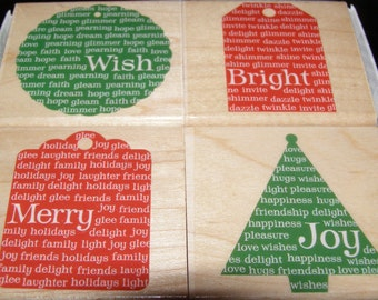 Hero Arts Set of 4 Holiday Message Tags wood mounted Rubber Stamps from Hero Arts