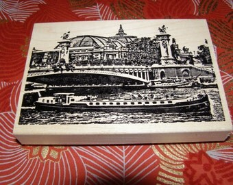 Pont Neuf and Les Bateaux along the Seine in Paris  wood mounted Rubber Stamp