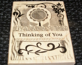Thinking of You Collage  wood mounted Rubber Stamp