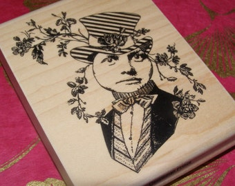 Gentleman Prince Altered Art Figure wood mounted Rubber Stamp