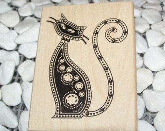 Fancy Dotty Cat wood mounted Rubber Stamp
